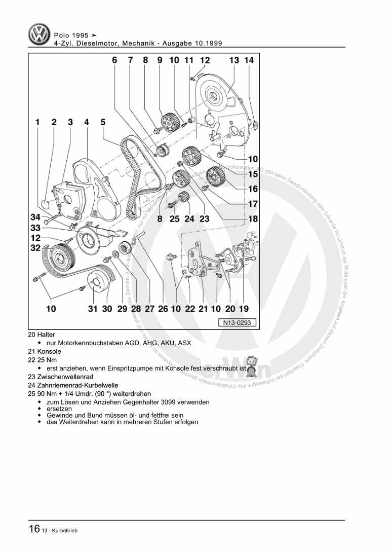 Beispielseite für Reparaturanleitung 4-Zyl. Dieselmotor, Mechanik