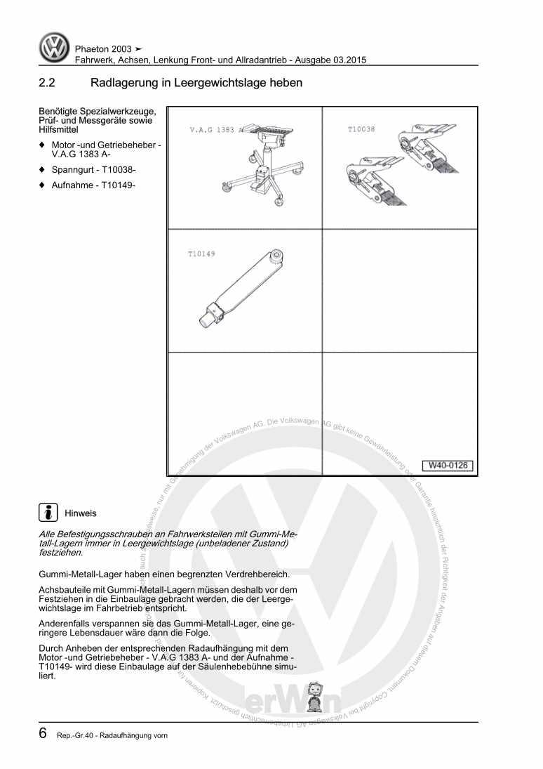 Beispielseite für Reparaturanleitung Fahrwerk, Achsen, Lenkung Front- und Allradantrieb