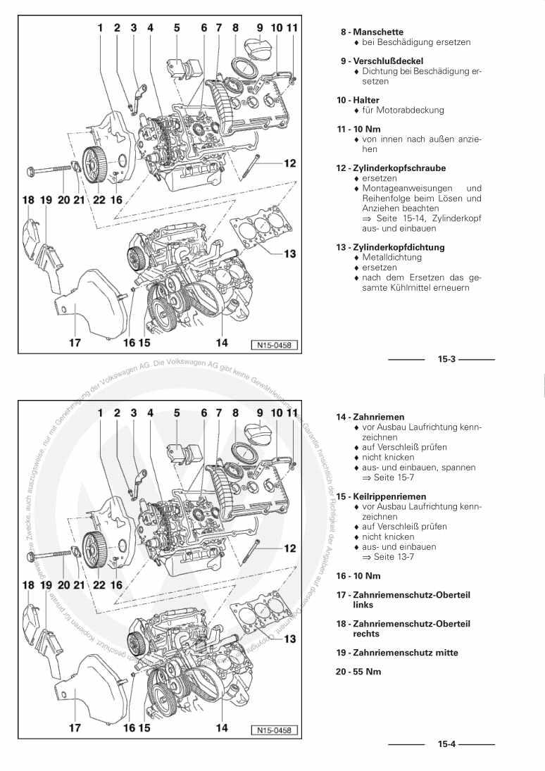 Beispielseite für Reparaturanleitung 6-Zyl. Einspritzmotor, Mechanik ACK AGE ALG AMX APR AQD ATX BBG