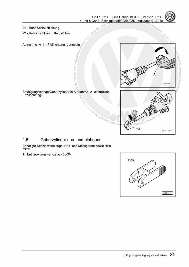 Beispielseite für Reparaturanleitung 4-und 5 Gang- Schaltgetriebe 020, 02K