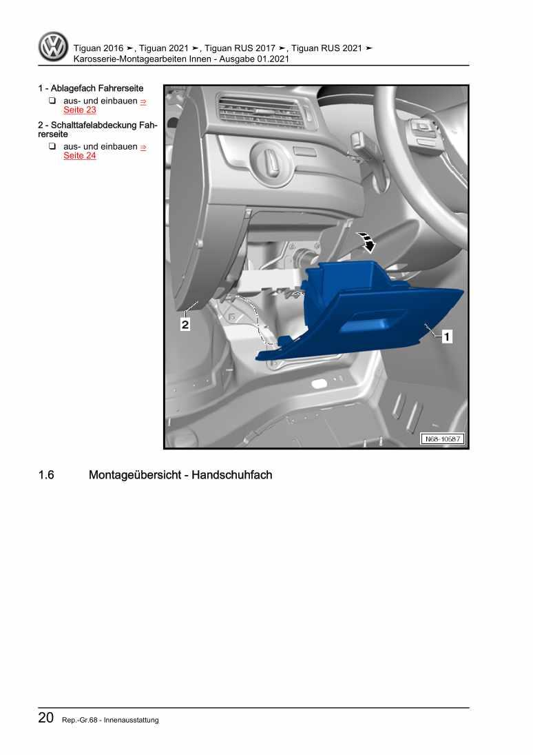 Beispielseite für Reparaturanleitung Karosserie-Montagearbeiten Innen