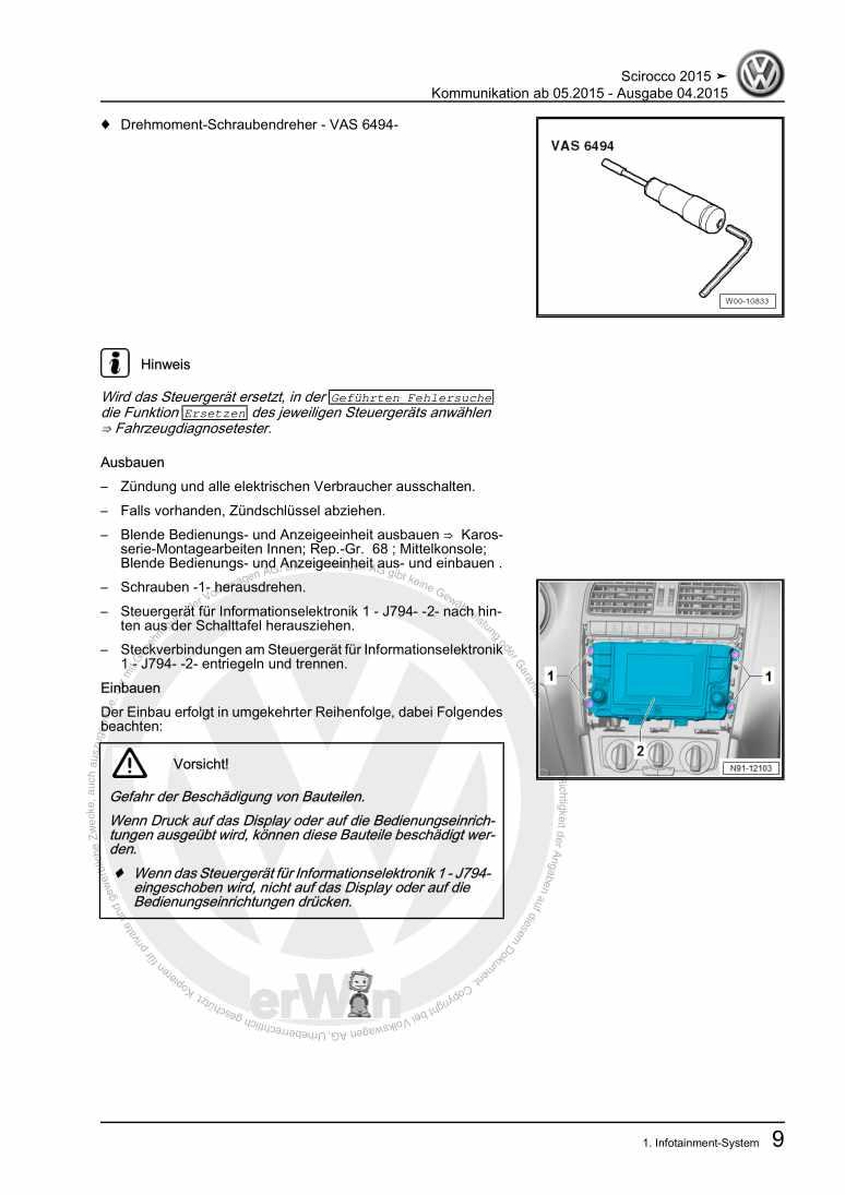 Beispielseite für Reparaturanleitung Kommunikation ab 05.2015