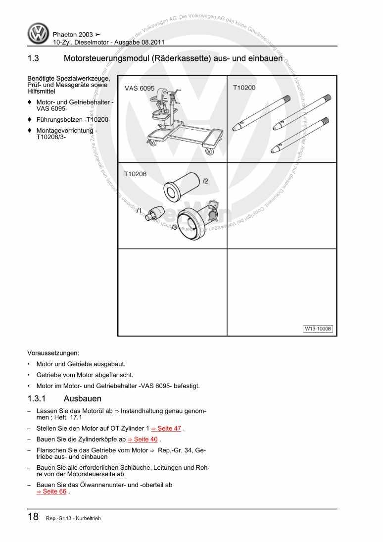 Beispielseite für Reparaturanleitung 10-Zyl. Dieselmotor