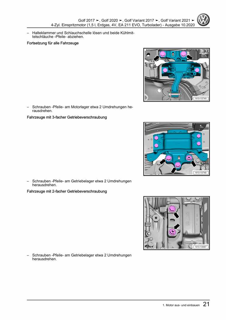 Beispielseite für Reparaturanleitung 4-Zyl. Einspritzmotor (1,5 l, Erdgas, 4V, EA 211 EVO, Turbolader)