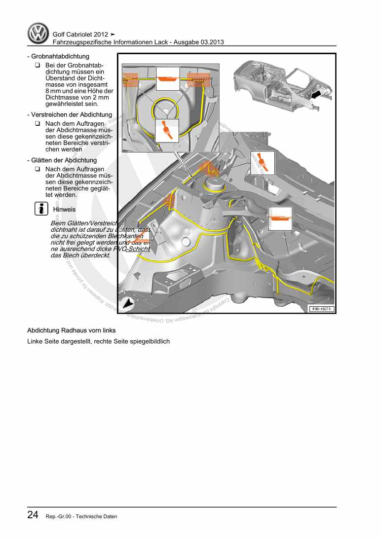 Beispielseite für Reparaturanleitung Fahrzeugspezifische Informationen Lack