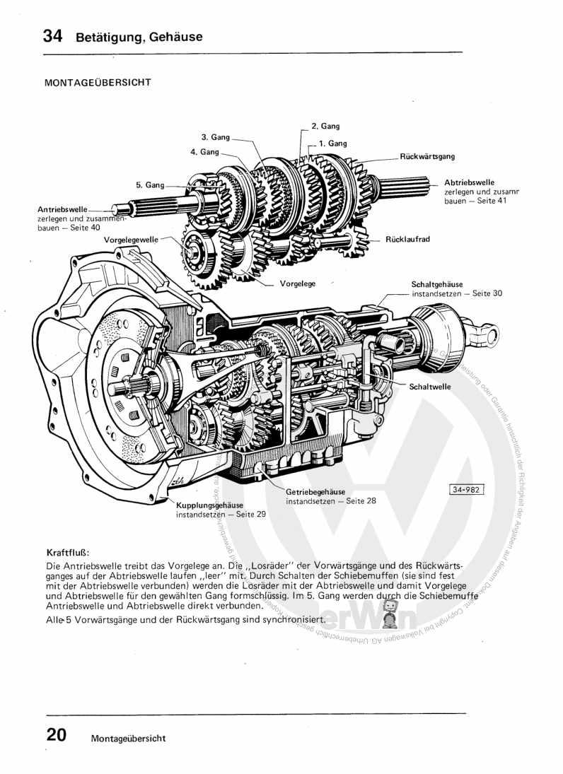 Beispielseite für Reparaturanleitung 5-Gang-Schaltgetriebe 008 und Achsantrieb