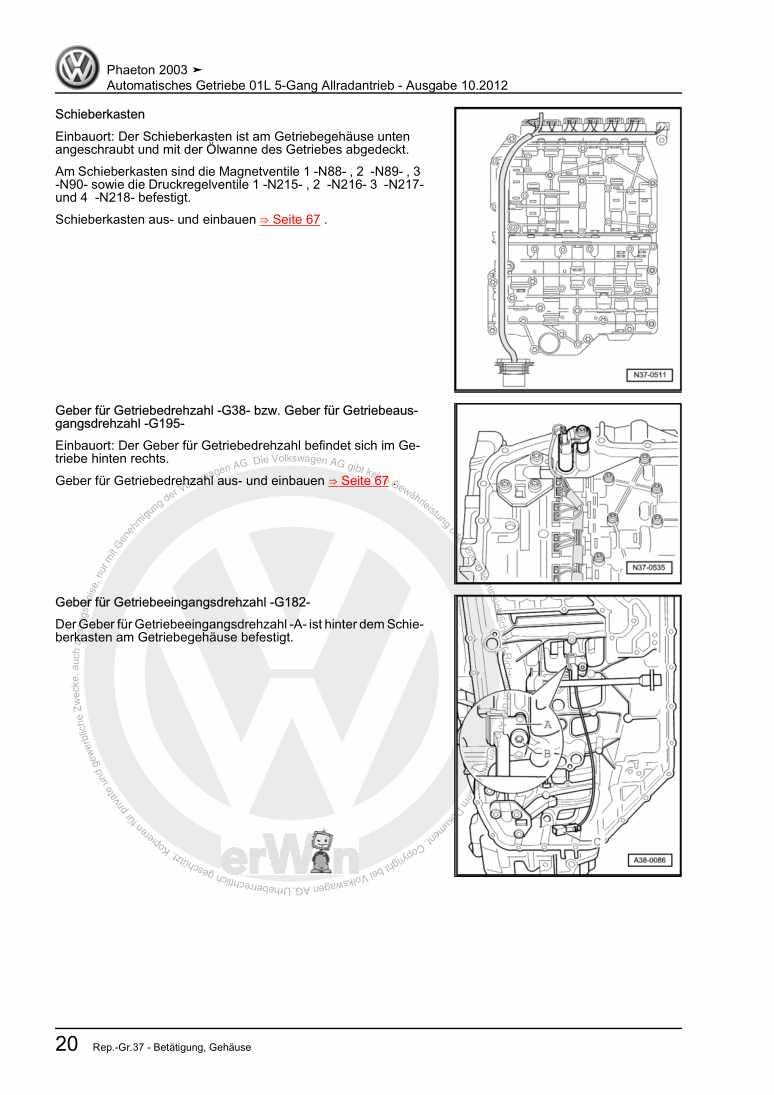 Beispielseite für Reparaturanleitung Automatisches Getriebe 01L 5-Gang Allradantrieb