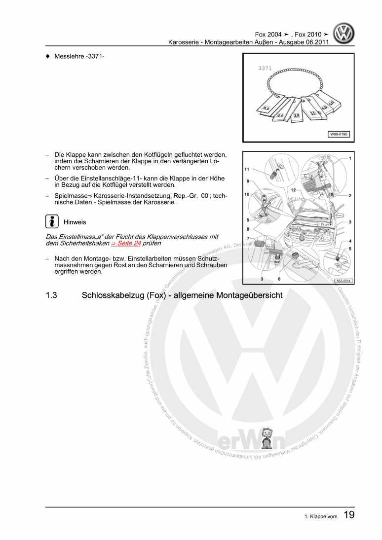 Beispielseite für Reparaturanleitung Karosserie - Montagearbeiten Auβen