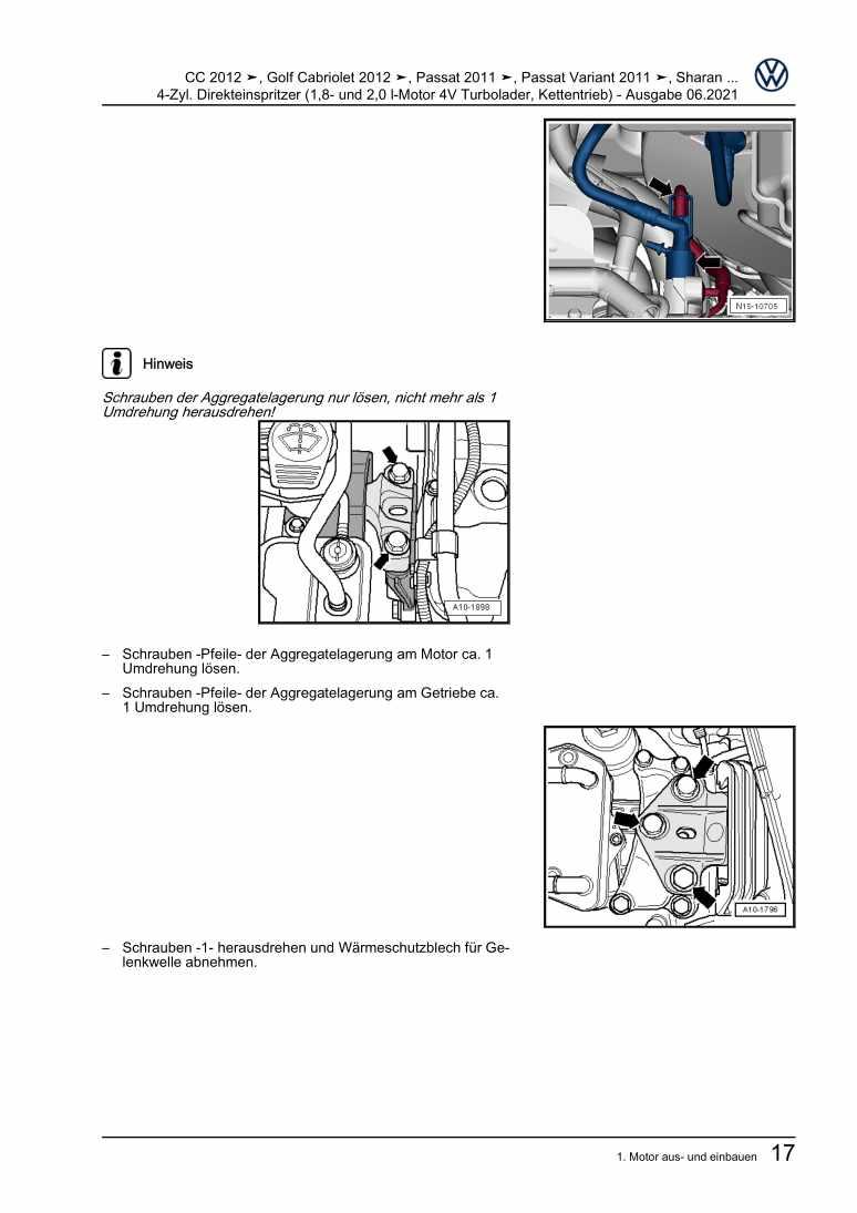 Beispielseite für Reparaturanleitung 4-Zyl. Direkteinspritzer (1,8- und 2,0 l-Motor 4V Turbolader, Kettentrieb)