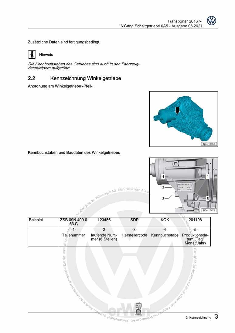 Beispielseite für Reparaturanleitung 6 Gang Schaltgetriebe 0A5