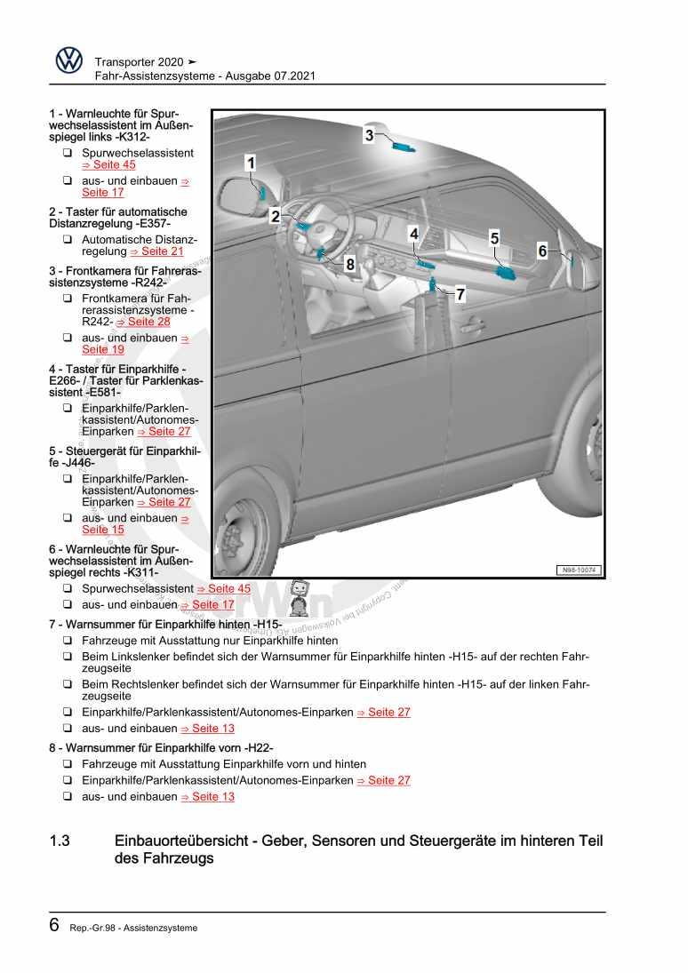 Beispielseite für Reparaturanleitung Fahr-Assistenzsysteme