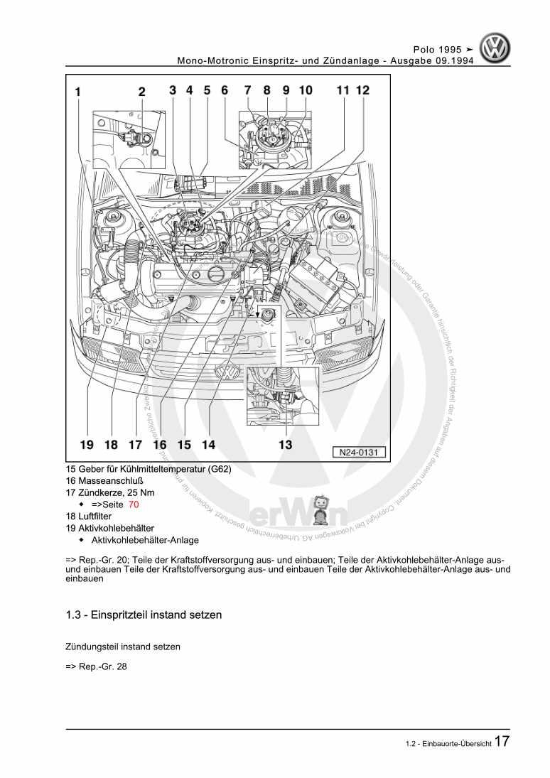 Beispielseite für Reparaturanleitung Mono-Motronic Einspritz- und Zündanlage