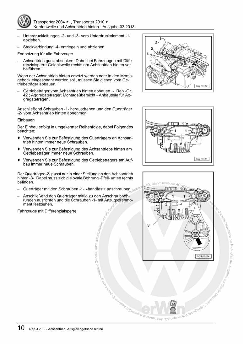 Beispielseite für Reparaturanleitung Kardanwelle und Achsantrieb hinten