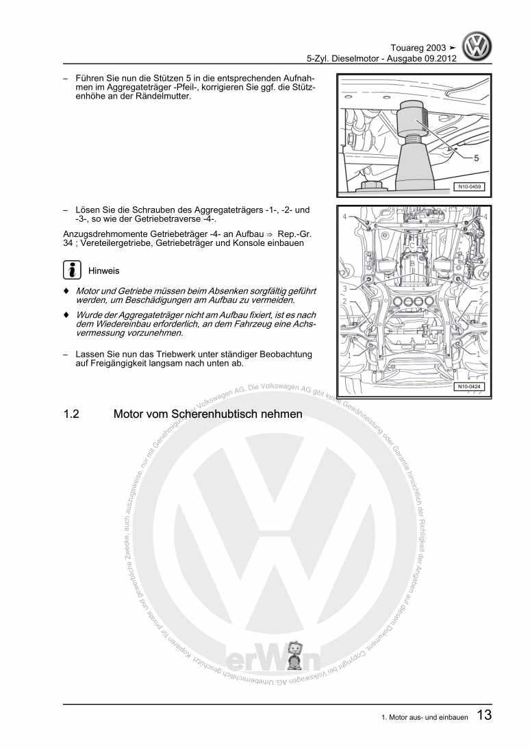 Beispielseite für Reparaturanleitung 5-Zyl. Dieselmotor