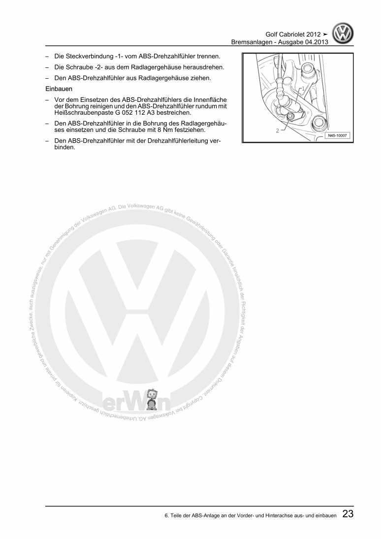 Beispielseite für Reparaturanleitung Bremsanlage