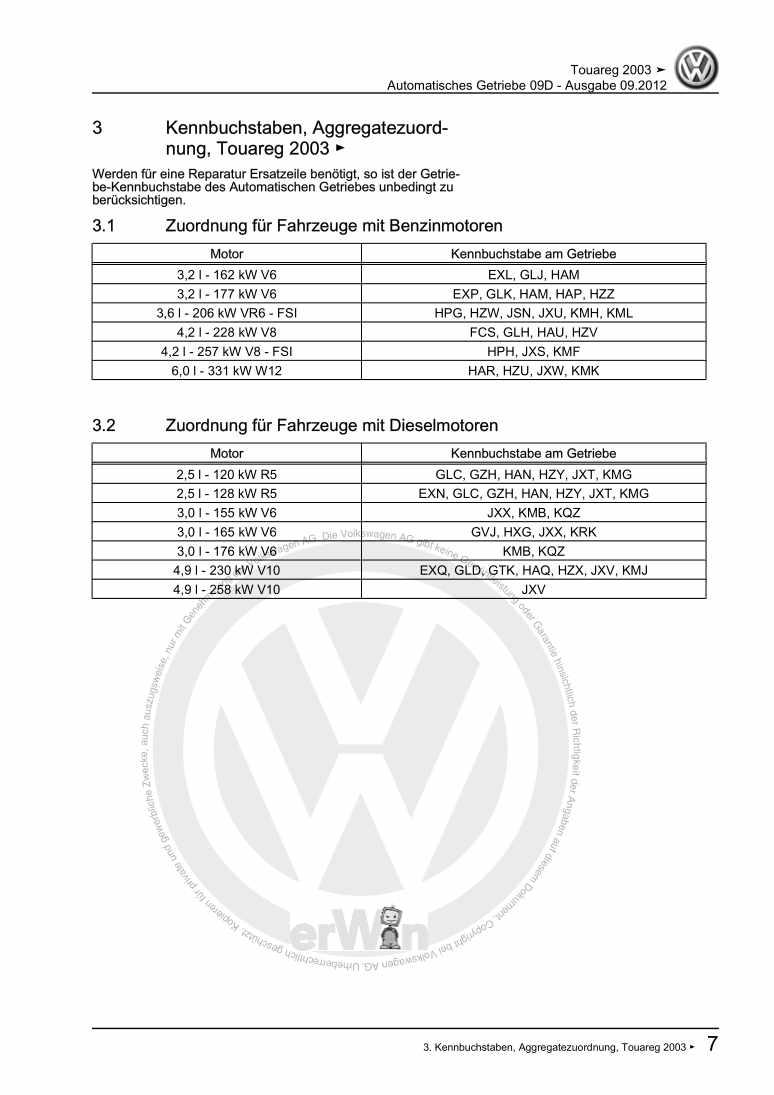 Beispielseite für Reparaturanleitung Automatisches Getriebe 09D