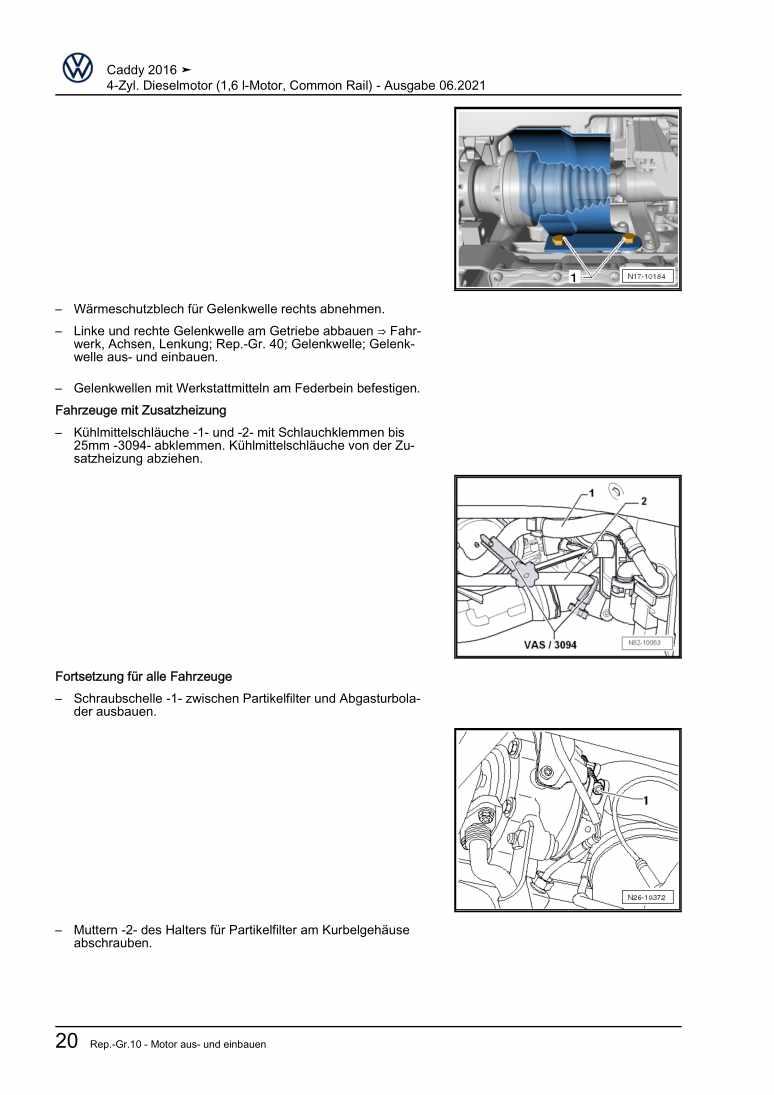 Beispielseite für Reparaturanleitung 4-Zyl. Dieselmotor (1,6 l-Motor, Common Rail)
