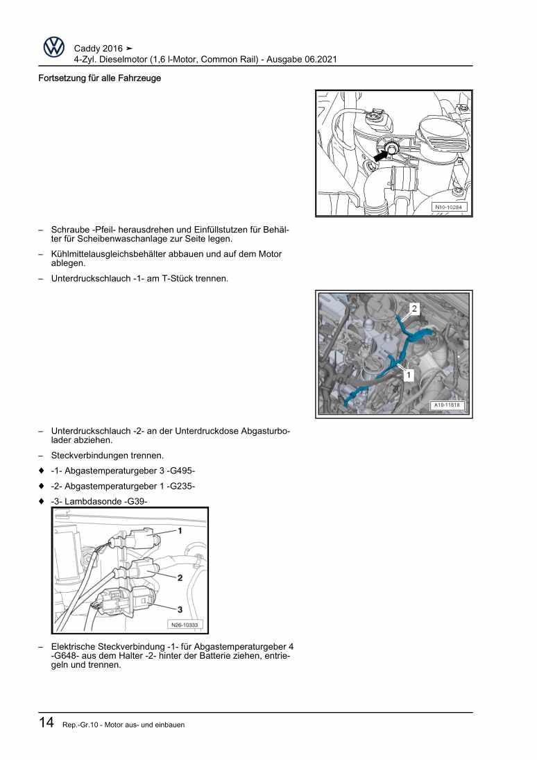 Beispielseite 2 für Reparaturanleitung 4-Zyl. Dieselmotor (1,6 l-Motor, Common Rail)