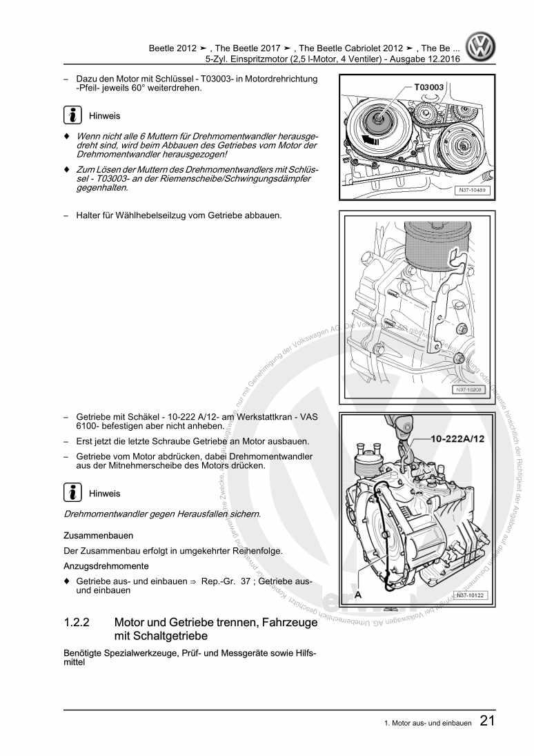 Beispielseite 2 für Reparaturanleitung 5-Zyl. Einspritzmotor (2,5 l-Motor, 4 Ventiler)