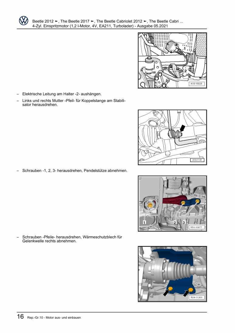 Beispielseite für Reparaturanleitung 4-Zyl. Einspritzmotor (1,2 l-Motor, 4V, Turbolader)