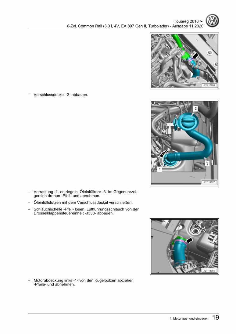 Beispielseite für Reparaturanleitung 6-Zyl. Common Rail (3,0 l, 4V, EA 897 Gen II, Turbolader)