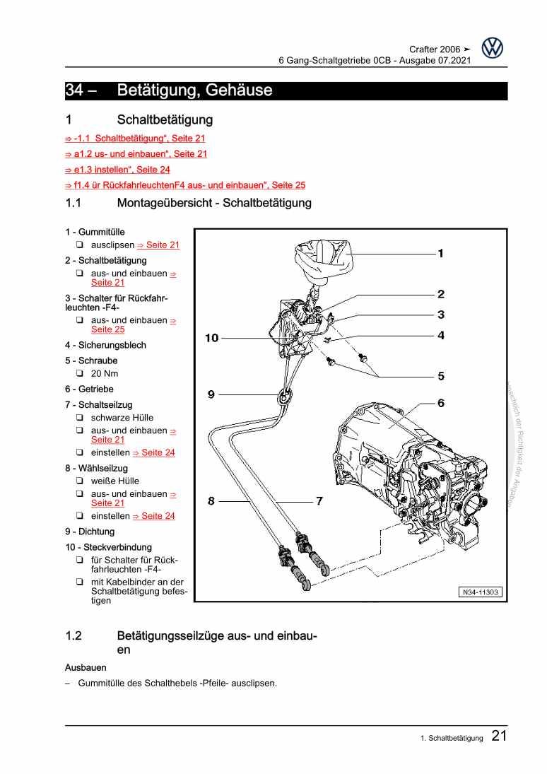Beispielseite für Reparaturanleitung 6 Gang-Schaltgetriebe 0CB