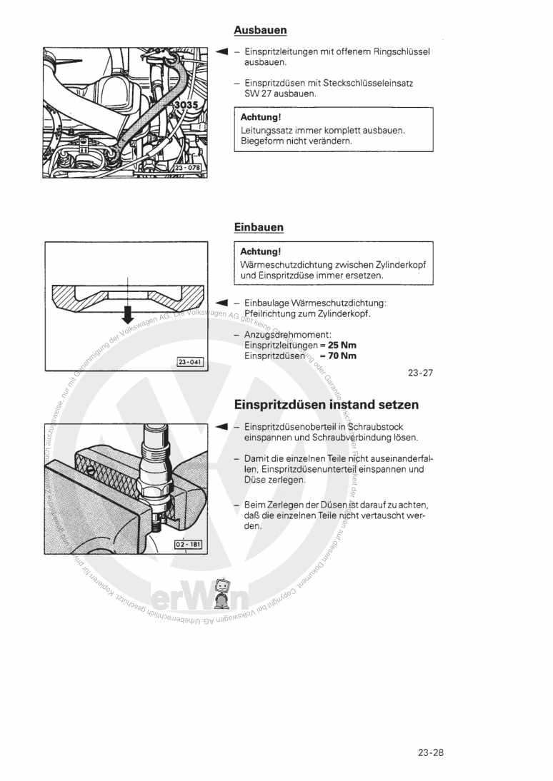 Beispielseite für Reparaturanleitung Diesel-Einspritz- und Vorglühanlage CR,CY,JK