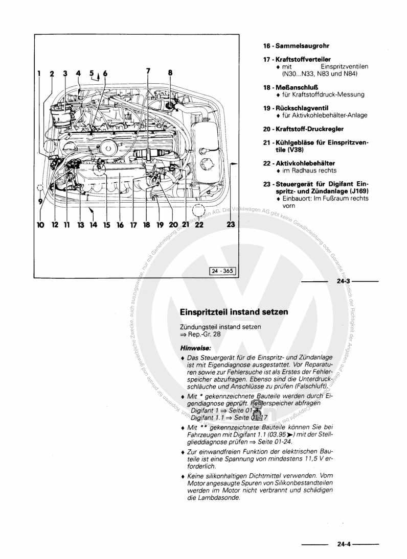Beispielseite für Reparaturanleitung Digifant Einspritz- und Zündanlage 1E