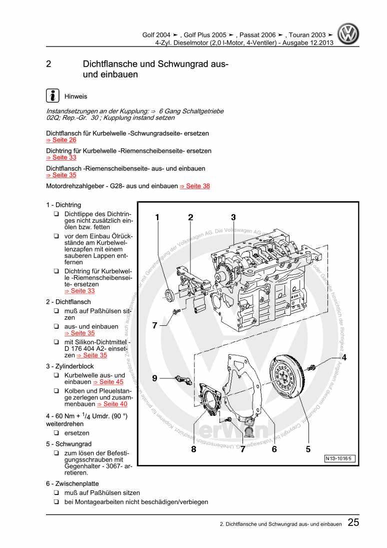 Beispielseite für Reparaturanleitung 4-Zyl. Dieselmotor (2,0 l-Motor, 4-Ventiler)