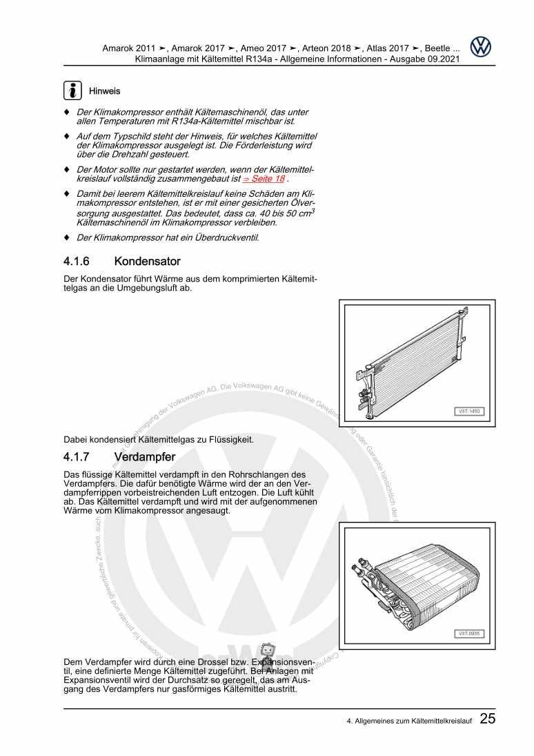 Beispielseite für Reparaturanleitung Klimaanlage mit Kältemittel R134a - Allgemeine Informationen