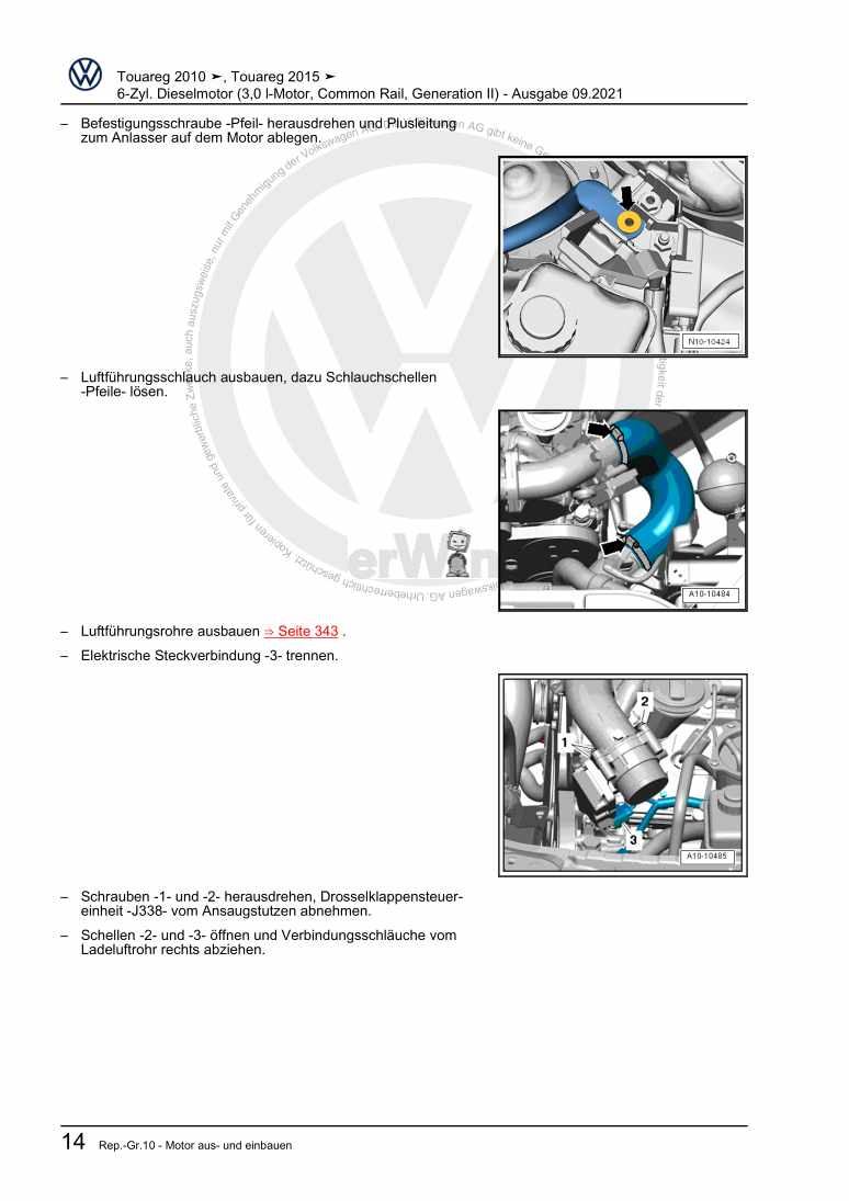 Beispielseite für Reparaturanleitung 6-Zyl. Dieselmotor (3,0 l-Motor, Common Rail, Generation II)