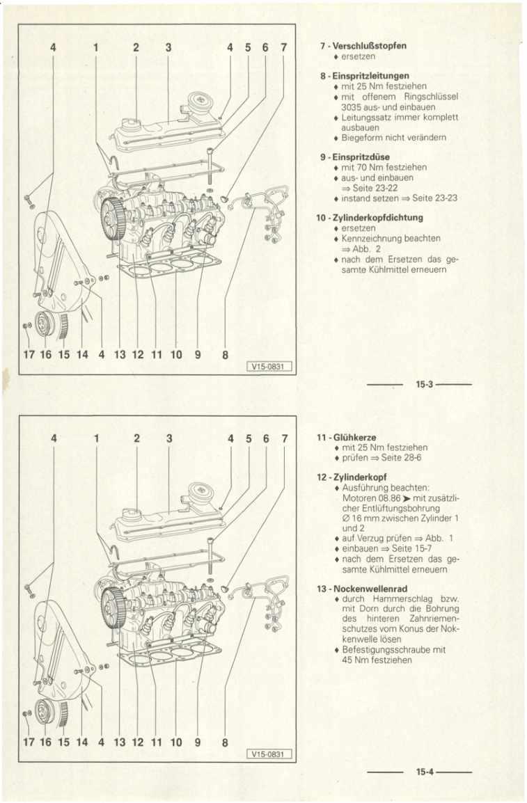 Beispielseite für Reparaturanleitung 4-Zyl.-Dieselmotor (1,5- und 1,6 l-Motor) 068.2 / 068.5 / 068.A / ADK