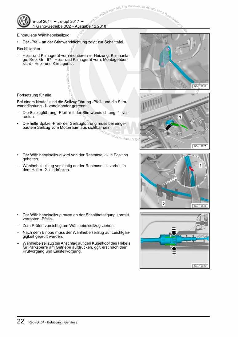 Beispielseite für Reparaturanleitung 1 Gang-Getriebe 0CZ