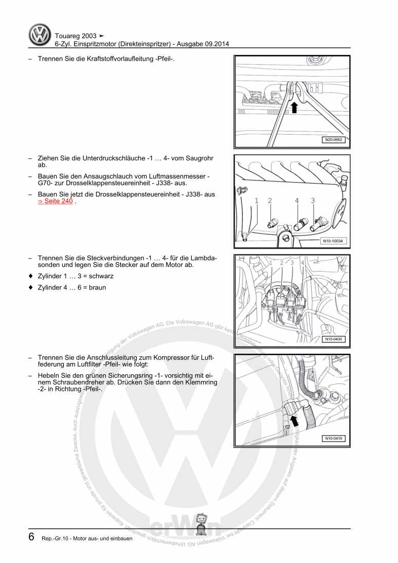 Beispielseite für Reparaturanleitung 6-Zyl. Einspritzmotor (Direkteinspritzer)
