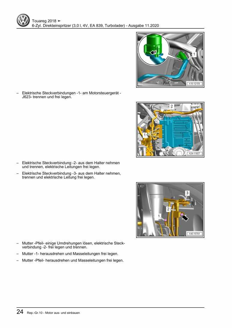 Beispielseite für Reparaturanleitung 6-Zyl. Direkteinspritzer (3,0 l, 4V, EA 839, Turbolader)