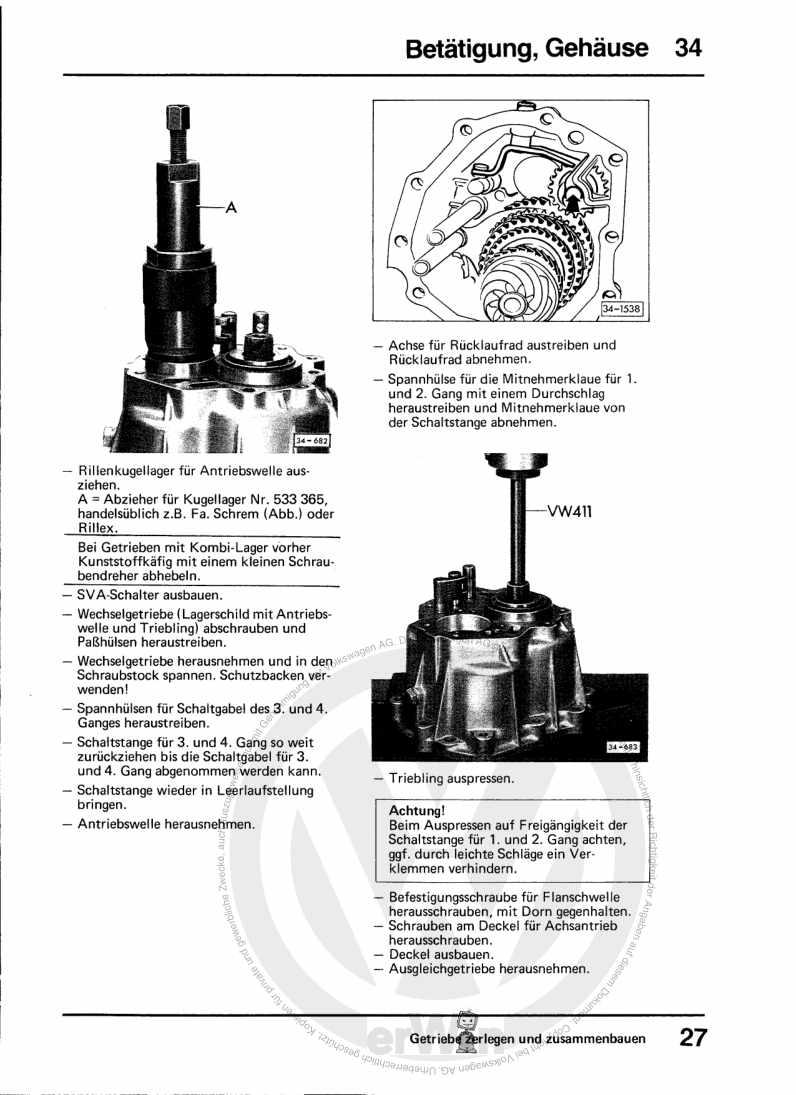 Beispielseite 2 für Reparaturanleitung 4-Gang-Schaltgetriebe 014/II 04/1984