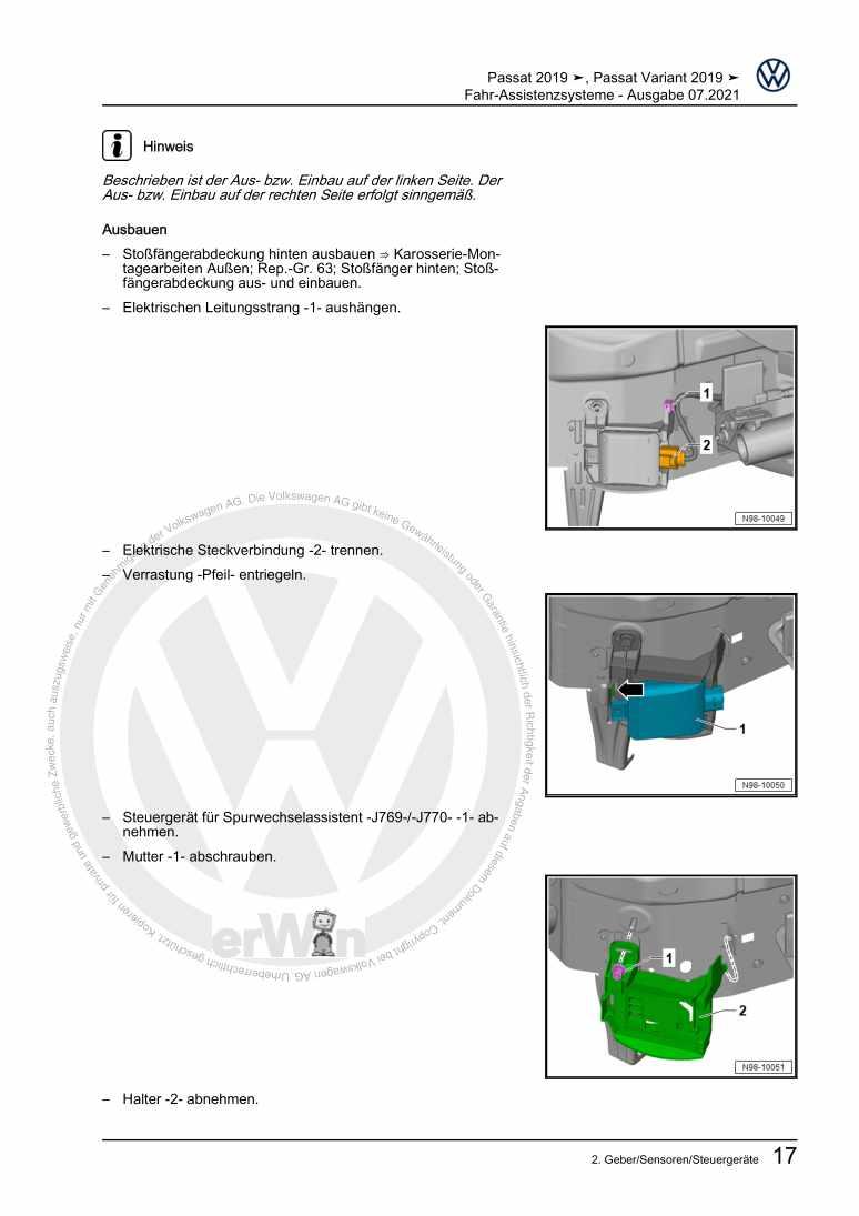 Beispielseite 2 für Reparaturanleitung Fahr-Assistenzsysteme