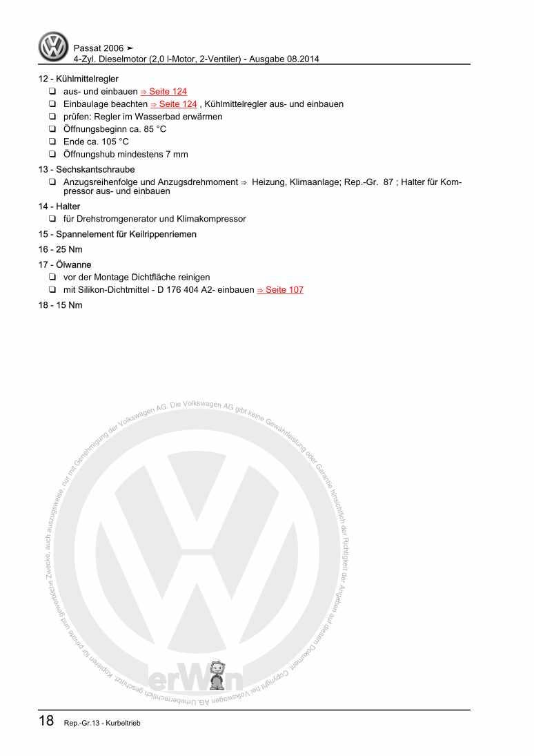 Beispielseite für Reparaturanleitung 4-Zyl. Dieselmotor (2,0 l-Motor, 2-Ventiler)