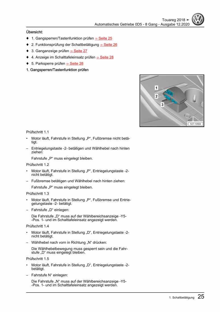 Beispielseite für Reparaturanleitung Automatisches Getriebe 0D5 - 8 Gang