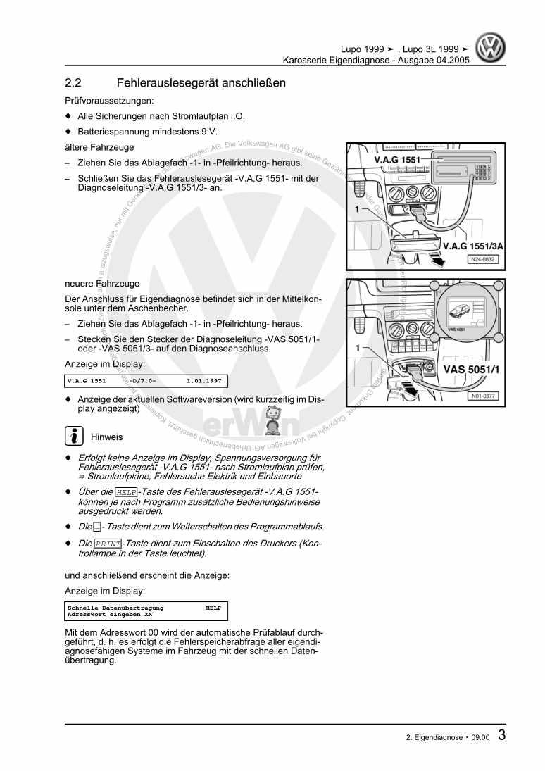 Beispielseite für Reparaturanleitung Karosserie Eigendiagnose