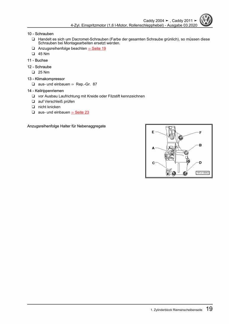 Beispielseite für Reparaturanleitung 4-Zyl. Einspritzmotor (1,6 l-Motor, Rollenschlepphebel)