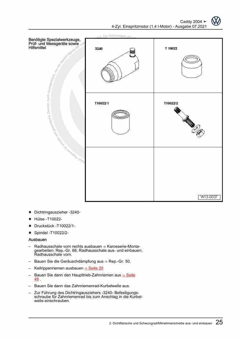 Beispielseite für Reparaturanleitung 4-Zyl. Einspritzmotor (1,4 l-Motor)
