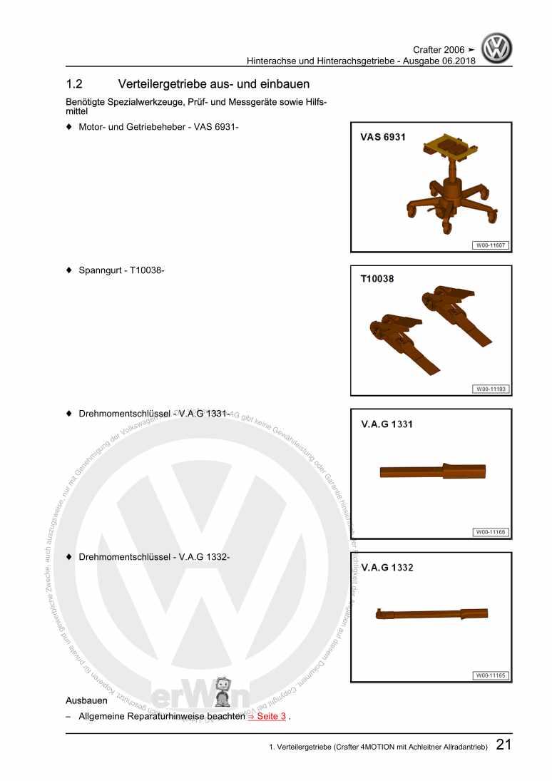Beispielseite für Reparaturanleitung Hinterachse und Hinterachsgetriebe