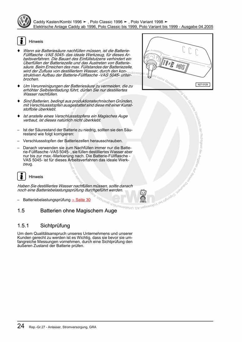 Beispielseite für Reparaturanleitung Elektrische Anlage Caddy ab 1996, Polo Classic bis 1999, Polo Variant bis 1999