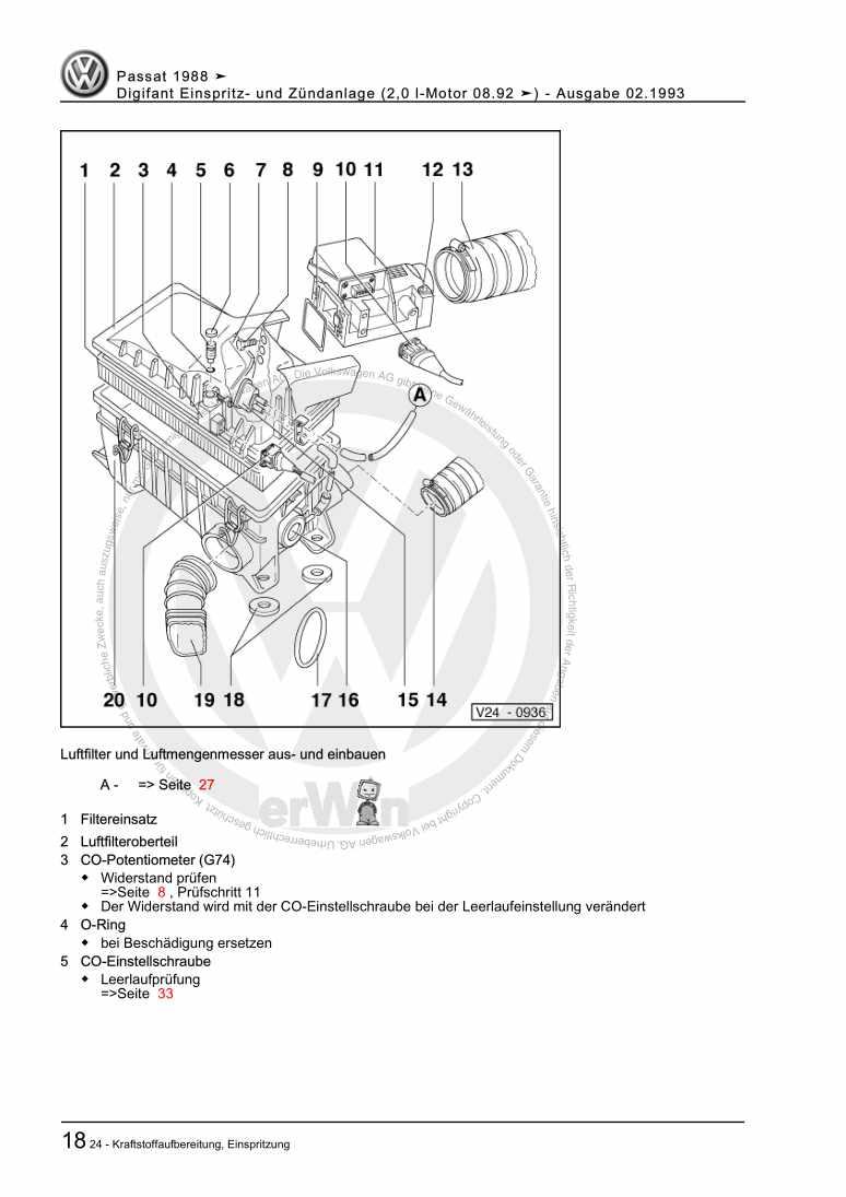 Beispielseite für Reparaturanleitung Digifant Einspritz- und Zündanlage (2,0 l-Motor 08.92 ä)