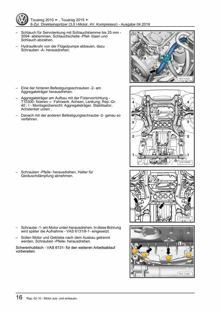 Beispielseite für Reparaturanleitung 6-Zyl. Direkteinspritzer (3,0 l-Motor, 4V, Kompressor)