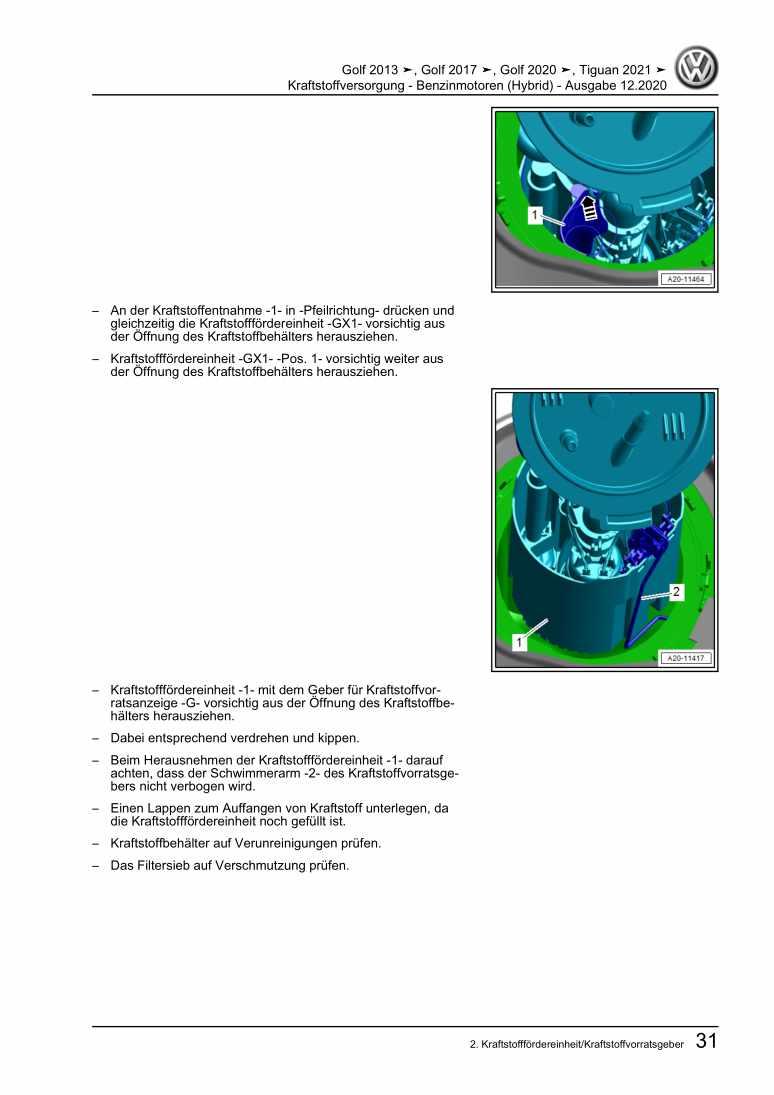 Beispielseite für Reparaturanleitung Kraftstoffversorgung - Benzinmotoren (Hybrid)