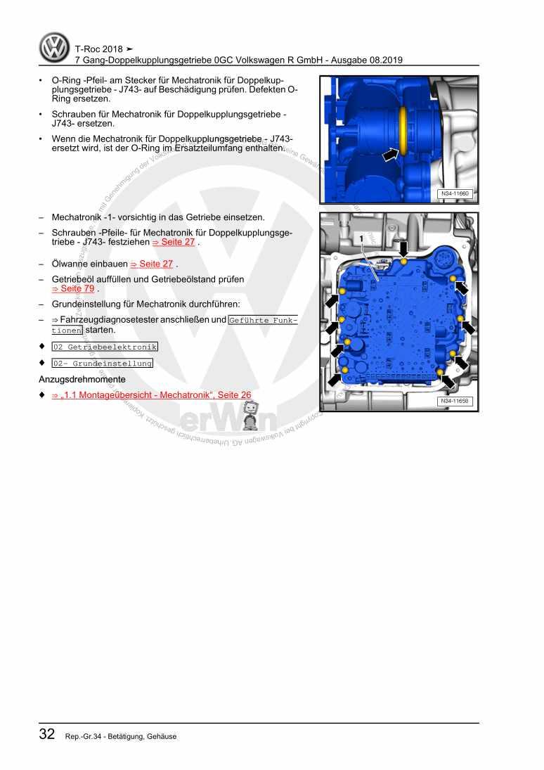 Beispielseite 2 für Reparaturanleitung 7 Gang-Doppelkupplungsgetriebe 0GC Volkswagen R GmbH