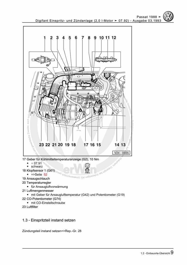 Beispielseite für Reparaturanleitung Digifant Einspritz- und Zündanlage (2,0 l-Motor ä 07.92)