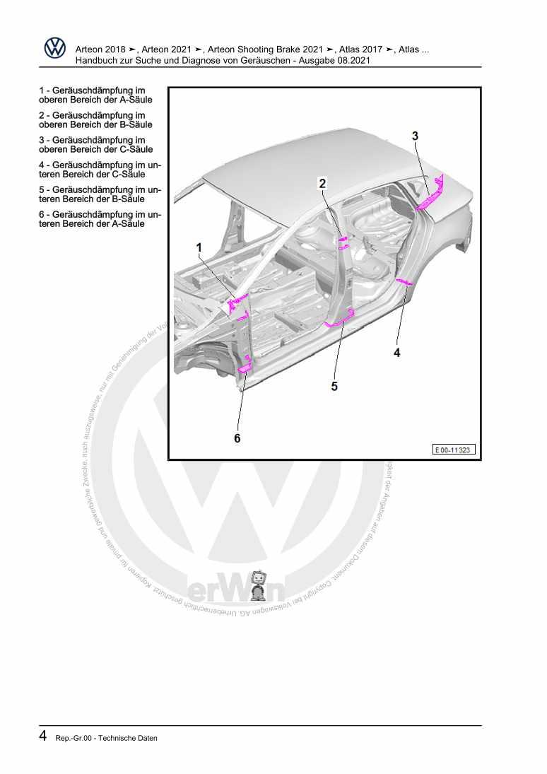 Beispielseite für Reparaturanleitung Handbuch zur Suche und Diagnose von Geräuschen